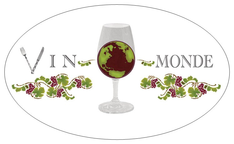 Autocollant avec logo couleur Vin-O-Monde